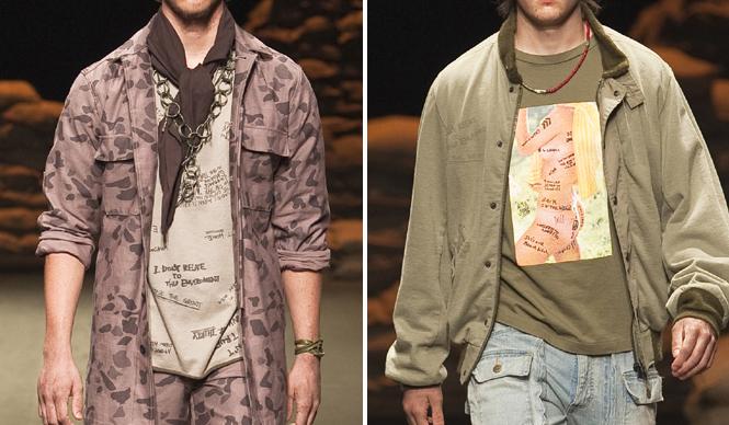 SUKEZANE Tomoki トモキ倶楽部 2010-2011 秋冬 N.HOOLYWOODコレクションより。手瑠弾のグレネードピンをモチーフにしたネックレスや、ピンナップガールをプリントしたTシャツが目を引く。