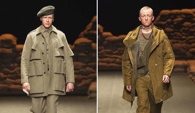 SUKEZANE Tomoki|トモキ倶楽部 2010-2011 秋冬 N.HOOLYWOODコレクションより。逆さポケットが特徴的なジャケットや、軍モノアイテムによく見られるパイプのようなディテールをあしらったモッズパーカ。