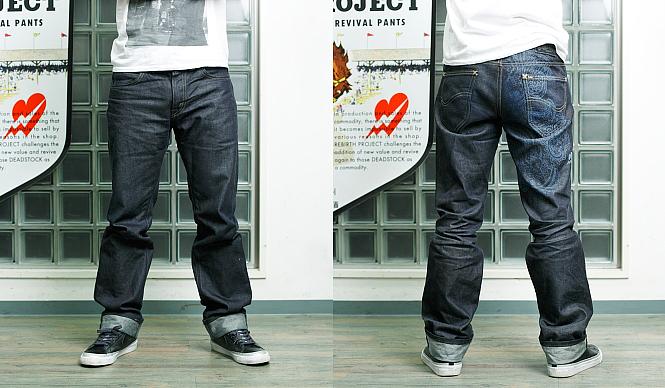 REBIRTH PROJECT リバース・プロジェクト  龜石太夏匡さんが着用した「Lee BIRTH PROJECT」ジーンズ。右脚の後ろにペーズリーモチーフが入れられている。写真はワンウォッシュした状態(商品はノンウォッシュ)。ジーンズ1万6000円(Lee BIRTH PROJECT/Lee Japan)