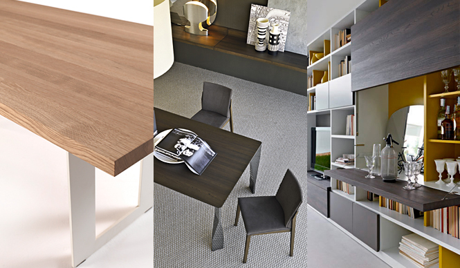 Arflex|アルフレックス 2012 SPRING COLLECTION 左から、「Riva1920」のテーブル「CALLE CULT(カレカルト)」、「Molteni&C」のテーブル「Diamond」、「Molteni&C」のシステム収納「505」