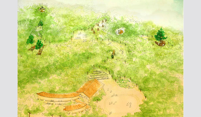 森の学校|C.W.ニコル 森の尾根沿いにアクティビティサイトや木や鳥を観察できる場所が点在する「復興の森、森の教室プラン」(一般財団法人C.W.ニコル・アファンの森財団提供)