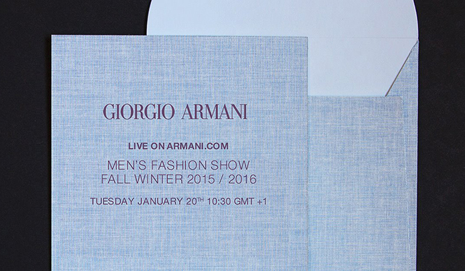 GIORGIO ARMANI 2015-16秋冬 メンズコレクションのショーをライブストリーミング