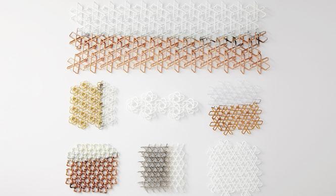 ミラノサローネ2015|Experimental Creations<Digital Experiments>福定良佑「Oriental Loops」3D プリンタの機能として、継ぎ目のないリング状の形がつながりあったまま出力できるという特性を生かし、リング状の形を反復することでできる3ディメンショナルなテクスチャー表現の可能性を考察