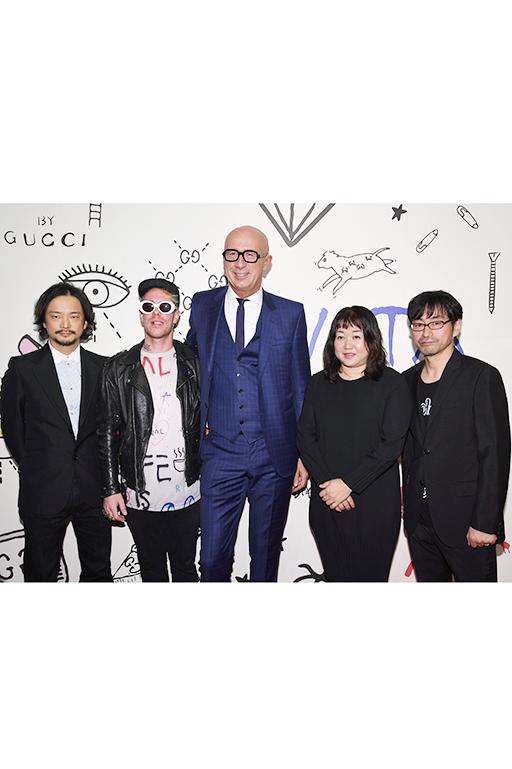 日本人アーティスト(塩田千春、真鍋大度、Mr.) Courtesy of Getty Images for Gucci