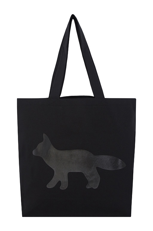 Black-cotton-tote-bag-with-a-black-fox-print-7000円