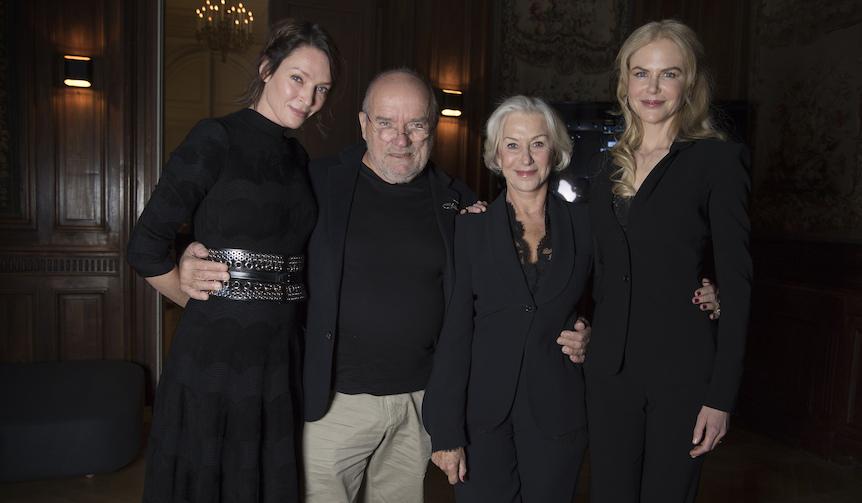 パリ市内の記者会見において左からサーマン、リンドバーグ、ミレン、キッドマン