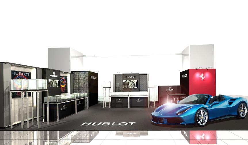 HUBLOT|フェラーリが展示されるラグジュアリーなウブロのポップアップブティック
