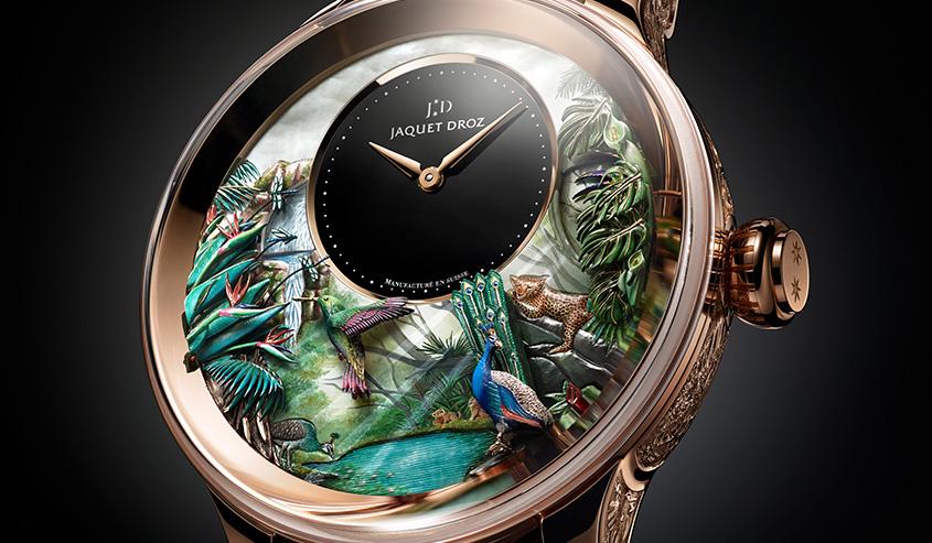 JAQUET DROZ|ハチドリは羽ばたき、孔雀が羽根を広げる。熱帯の営みをオートマタに写す