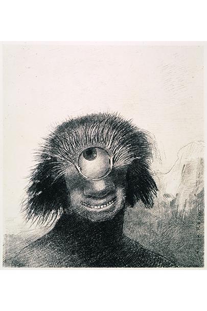 《III.不恰好なポリープは薄笑いを浮かべた醜い一つ目巨人のように岸辺を漂っていた》『起源』1883年 リトグラフ/紙 岐阜県美術館蔵 [前期展示]