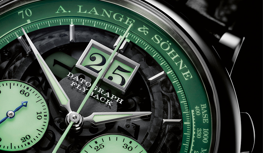 A.LANGE&SÖHNE|世界限定200本。ネオングリーンの光彩を放つクロノグラフ