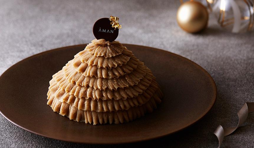 """AMAN TOKYO 今年のクリスマスケーキは和栗をたっぷり使った""""モンブランツリー"""""""